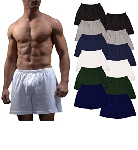 Andrew Scott Men's 12 Pack King Size Big Man Cotton Knit Sleep Boxer Shorts (12 Pack - Black/Gey/Navy/White/Hunter/Royal, 4X-Large)
