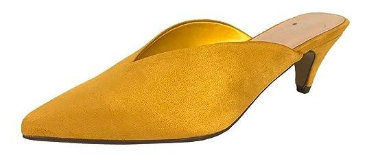 73744e9127c Delicious Radar Women's Pointy Toe Comfy Low Kitten Heel Mule Slide Sandals