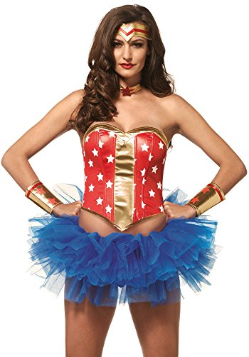 Leg Avenue Women's 4 PIece Super Star Hero Costume Kit, Red/Gold, Medium ()