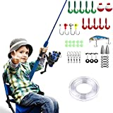 PLUSINNO Kids Fishing Pole,Light and Portable Fishing Rod and Reel Combos Telescopic Fishing Rod for Youth Fishing by (Bluehandle 115cm)