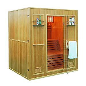 ALEKO CEDN4BUG 4 Person Canadian Red Cedar Indoor Wet Dry Sauna With 4.5 KW ETL Electric Heater
