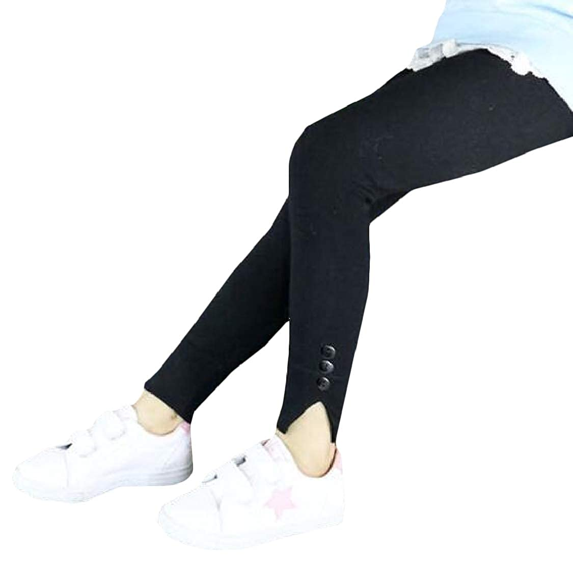 Pandapang Girls Stretchy Fashion Solid Pants Cozy Cotton Legging