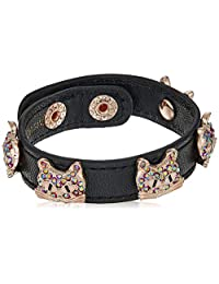 Betsey Johnson (Gbg) Cat Leather Snap Bracelet, Multi, One Size