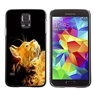 Plastic Shell Protective Case Cover    Samsung Galaxy S5    Cat Fire Ginger Yellow Furry Magic Mythical @XPTECH