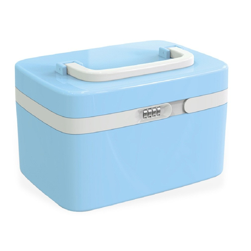 First Aid Case Medicine Storage Drug Pill Container Box Plastic Bin Hand Carry ABS 10L,Cyan