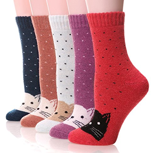 EBMORE Women's Fashion Soft Printed Wool Warm Winter Thick Socks - 5 Pack (Cat Dot) Fit Shoes Size US 6 - ()