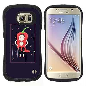 "Hypernova Slim Fit Dual Barniz Protector Caso Case Funda Para Samsung Galaxy S6 [Carácter Negro minimalista Chili""]"