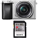 Sony Alpha a6300 Mirrorless Digital Camera with 3 LCD, SIlver (ILCE6300L/S) w/ 16-50 Lens Bundle