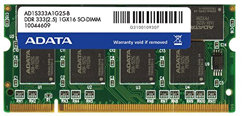 ADATA 1 GB DDR-333 (PC-2700) SO-DIMM Memory Module AD1S333A1G25R (Black) ()