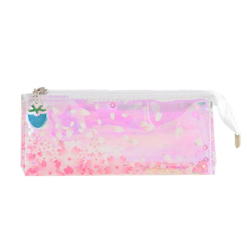 Transparent Student Pencil Pen Case Cosmetic Pouch Pocket Brush Holder Makeup Bag for Students/Adults (C)