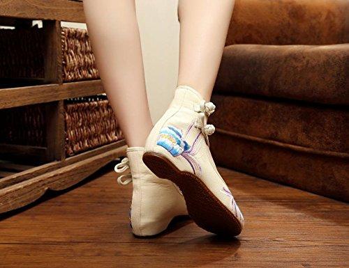GXS Zapatos bordados, lenguado de tendón, estilo étnico, hembrashoes, moda, cómodo, zapatos de baile meters white