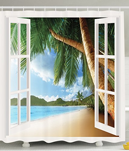 Personalized Decor for Bathroom Decorations Gazebo Theme Curtains Bathroom Sets Palm Tree Shower Curtain Fabric Beach House with Wooden Windows and Panoramic Art Pictures Blue Green White Brown (Shower Curtain Window Set)