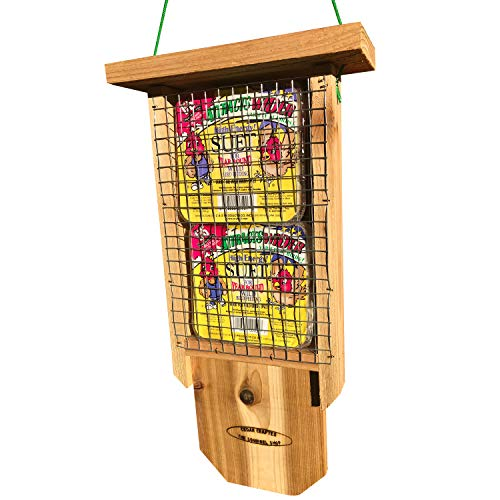 The Squirrel Shop Classic Cedar Double Suet Bird Feeder with Tail Prop and Premium Suet Cakes