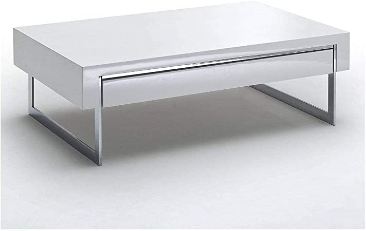 Inside Table Basse Copenhague Laque Blanc Brillant Pietement Metal