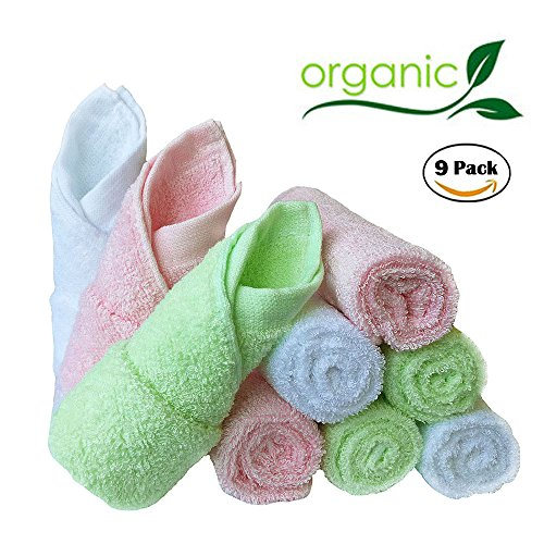 Bamboo Baby Washcloths Natural Organic Baby Face Towels - Reusable and Extra Soft Newborn Baby Bath Washcloths - Suitable for Sensitive Skin Baby Registry as Shower Gift Set 9 Pack 10x10 Inches Feibi