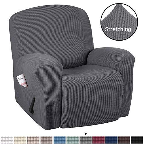 H.VERSAILTEX Stretch Recliner Slipcovers 1-Piece Durable Soft High Stretch Jacquard Sofa Furniture Cover Form Fit Stretch Stylish Recliner Cover/Protector (Recliner, Gray)