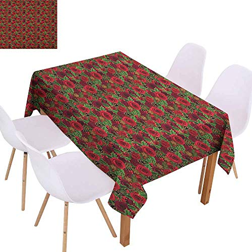 Marilec Washable Table Cloth Christmas Romantic Vibrant Roses and Buds Holly Berries Pine Cones and Leaves Print Table Decoration W70 xL84 Red Brown Green -