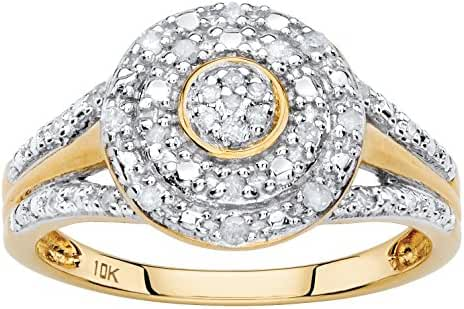 White Diamond Pave-Style Solid 10k Yellow Gold Double Halo Ring (.14 cttw, HI Color, I3 Clarity)