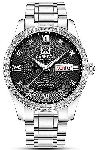 (Luxury Brand Men Automatic Mechanical Watches Diamond Stainless Steel Business Watch with Calendar)