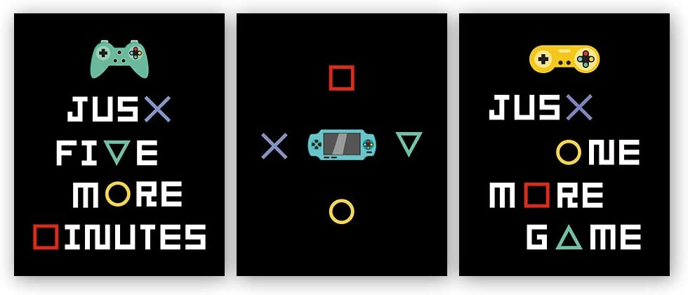 Colorful Gamer Art Print,Video Game Themed Canvas Poster Picture,Set Of 3 (8X10inch,Unframed) Gaming Wall Painting,Boy Room,Playroom Decor