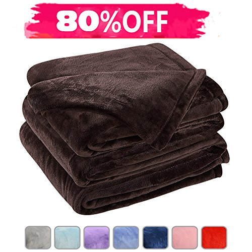 Fleece Bed Blanket Super Soft Warm Fuzzy Velvet Plush Throw Lightweight Cozy Couch Blankets King(104-Inch-by-90-Inch)Coffee