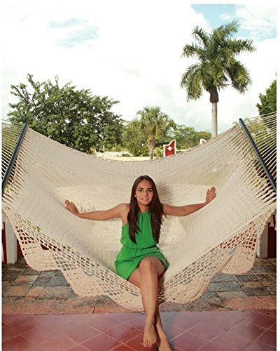 Sunnydaze Deluxe Hammock with Spreader Bars, Indoor/Outdoor Use, Heavy Duty 770-Pound Weight Capacity, American Style - FITS MULTIPLE PEOPLE: 149 inch long x 55 inch wide; Bed size measures 83 inches long x 55 inches wide; weight capacity: 770 pounds RELAX IN COMFORT: Made from 80% cotton and 20% nylon so it is soft and durable; Colors may vary slightly HAMMOCK ONLY: Comes with a single portable hammock swing, pillow, and two 9 inch hanging chains with S hooks - patio-furniture, patio, hammocks - 51ZvzwOJlKL -