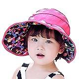 FUNY Kids Girls Beach Flower Summer Bucket Big Fold-up Brim Sun Protection Hat UPF 50+ (Rose)