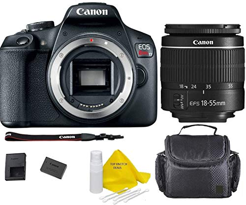 Canon EOS T7 DSLR Camera w/EF-S 18-55mm F/3.5-5.6 III Zoom Lens+ Case+ TopKnotch Deals Cloth (International Model) Bundle