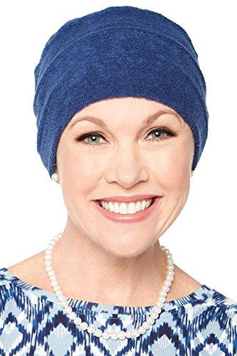 Headcovers Unlimited Three Seam Terry Cloth Turban   Womens Spa Chemo Turbans Navy