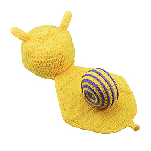 Handmade Yellow Snail Newborn Crochet Knitted Baby Outfits Photography Props Costume Set (#Purple - Snail Shell) -