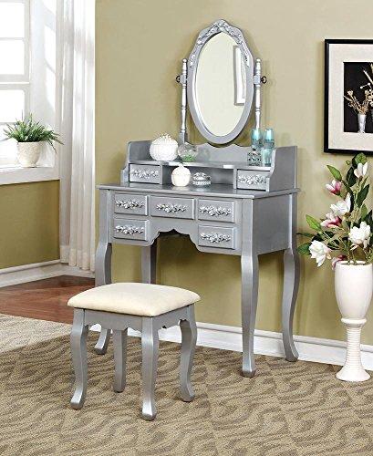 Silver Dresser N Mirror (Marcilly Vintage Bedroom 3 Piece Set Vanity Table, Mirror, Stool in Platinum Wood)