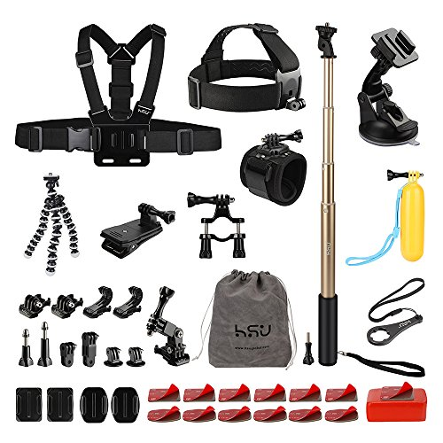 Accessories Kits for GoPro Hero camera and other action cameras SJ4000 SJ5000 SJ6000 Action Video Cameras Xiaomi Yi/WiMiUS/ Lightdow/DBPOWER for Action Sport or Outdoor Activities by HSU
