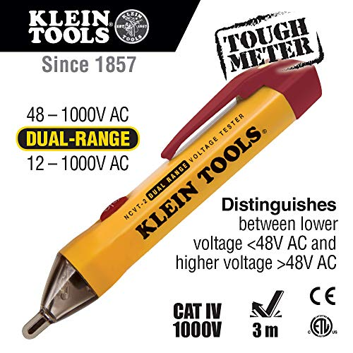 Klein Tools NCVT-2 Dual Range Tester, Non Contact Tester for Standard and Low Voltage with 3-m Drop Protection