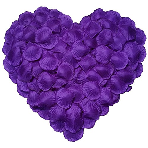 DALAMODA 1000pcs Silk Rose Petals Artificial Flower Wedding Party Aisle Decor Tabl Scatters Confett (Purple #2)]()