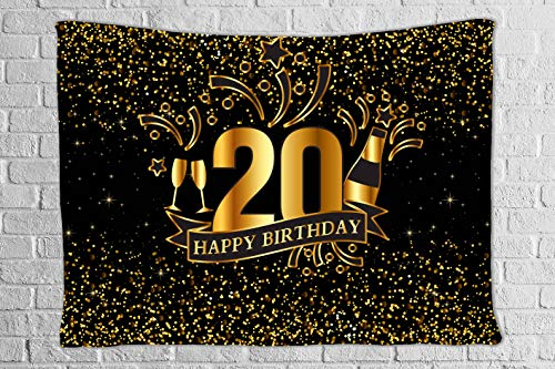 DBLLF Birthday Party Tapestry Black and Gold Happy Birthday Backdrop Shiny Glitter Gold dot Glamour Sparkle Sweet 20th Adults Party Decorations Tapestry 80×60 Inches DBZY161 ()