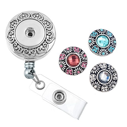 Souarts Retractable Badge Reel Clip On Card Holder with DIY Round Rhinestione Snaps Buttons Charms Retractable Round Badge Reel