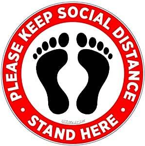 "5 SOCIAL DISTANCING 12/""x3/"" FLOOR vinyl stickers LAMINATED CV19 VIRUS SAFETY"