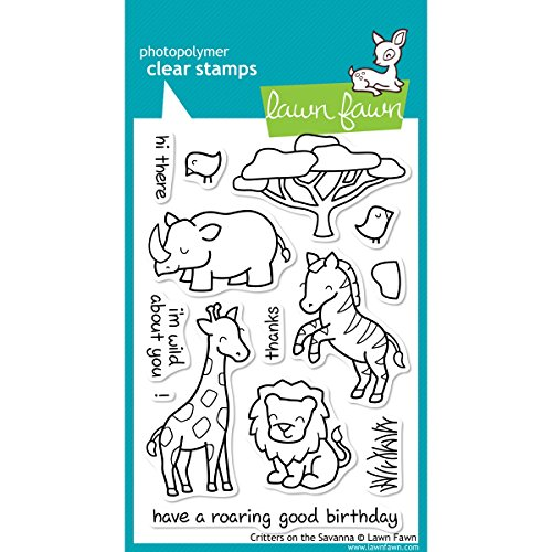 Lawn Fawn - Clear Acrylic Stamps - Critters on the Savanna (Acrylic Stamps Lawn Fawn)