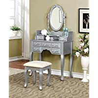 Marcilly Vintage Bedroom 3 Piece Set Vanity Table, Mirror, Stool in Platinum Wood