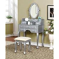 Marcilly Vintage Bedroom 3 Piece Set Vanity Table, Mirror, Stool in Platinum Wood