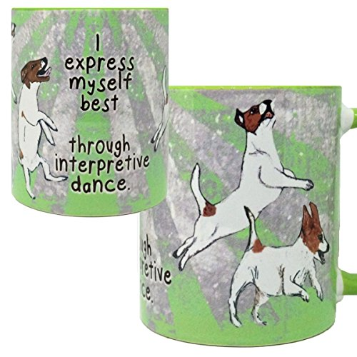Russell Single (Jack Russell Interpretive Dance Mug by Pithitude - One Single 11oz. Green Coffee Cup)