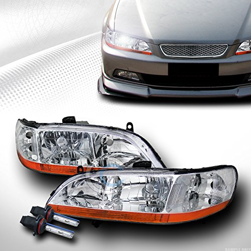 AutobotUSA 6000K HID XENON CHROME HEAD LIGHTS LAMPS SIGNAL AM V2 98-02 HONDA ACCORD 2DR/4DR
