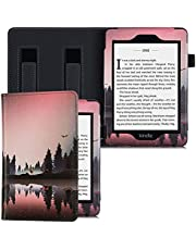 BOZHUORUI Handheld Case for Kindle Paperwhite (10th Gen - 2018 / Fits All Paperwhite eReader) - Premium PU Leather Protective Cover with Two Hand Straps/Auto Sleep/Wake (Nightfall)