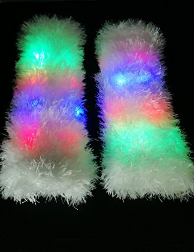 Luwint LED Flashing Furry Arm Leg Warmers - Light Up Clothing Accessories for Party Costume Christmas Rave, 1 Pair (White) by Luwint (Image #1)