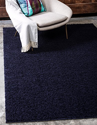 Unique Loom Serenity Solid Shag Collection Super Soft Micro Polyester Midnight Blue Area Rug (4' 0 x 6' 0)