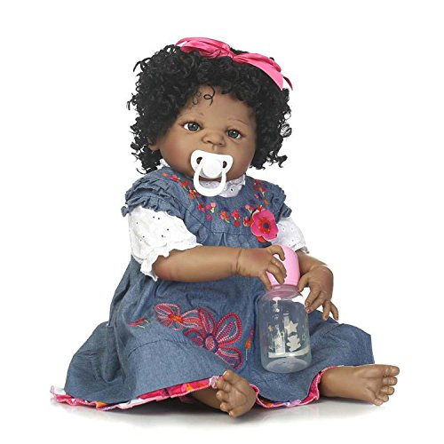 Search : Terabithia 22 inch Real Life Silicone Vinyl Full Body African-American Reborn Baby Doll, Newborn Black Girl Doll Dressed in Denim Dress with 3D Floral Embroidery