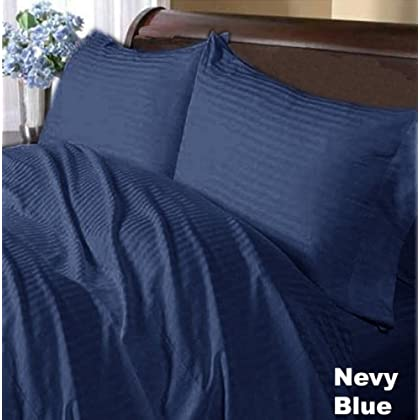 Image of 600 Tc 100% Egyptian Cotton Sheet Set Navy Blue Stripe Queen Size Offer-934 Connectors & Adapters