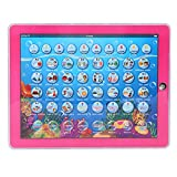 Zerodis Mini Kids Smart Learning Pad Spanish-English Tablet Bilingual Educational Toy with With Warm LED Lights Touch-and-Teach Educational Gift for Children Toddlers(Pink)