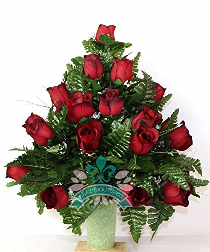 XL Classic Red Roses Cemetery Flower Arrangement for a 3 Inch Vase