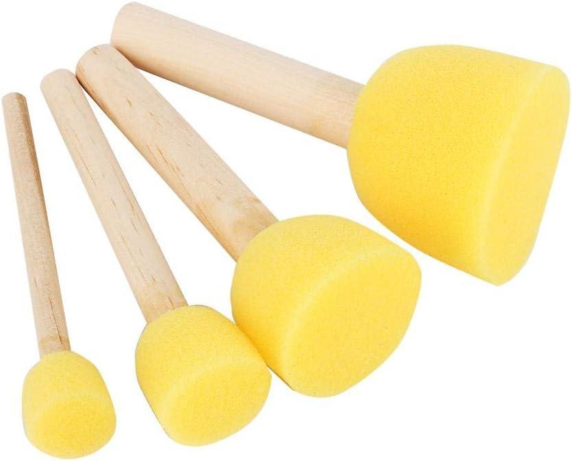 4Pcs Round Stencil Sponge Wooden Handle Foam Sponge Paint Brush Furniture Art Crafts Painting Tool Supplies